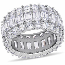 Haylee Jewels Sterling Silver Cubic Zirconia 3-Row Full-Eternity Band