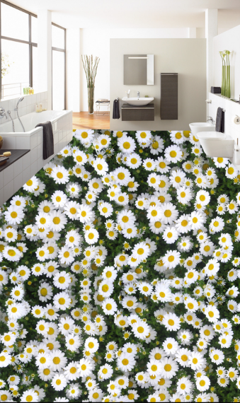 3D Weiß Daisies 55 Floor WallPaper Murals Wall Print 5D AJ WALLPAPER UK Lemon