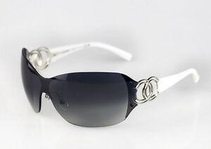 276e614f7506b Óculos De Sol CHANEL autêntico 4147 CH4147 Prata Branco CC mulheres ...