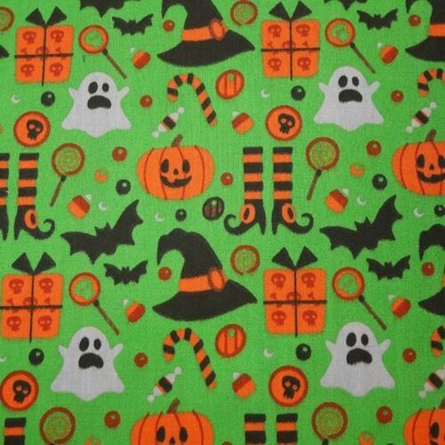 Halloween polycotton fabric - fat quarter green half metre or metre