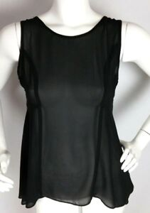 FOREVER-21-Women-039-s-Blouse-Small-Black-Lace-Back-Sheer-Sleeveless-Top-S