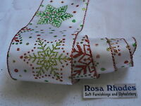 CHRISTMAS WIRE EDGED RIBBON -  WHITE SATIN WITH RED,GREEN & LIME SNOWFLAKES