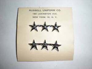 ORIGINAL WWII-1950'S LT GENERAL COLLAR RANK ON CARD!