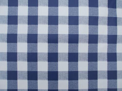 1.4x2.0m PVC//VINYL OIL CLOTH OVAL TABLECLOTH BLUE GINGHAM CHECK DESIGN