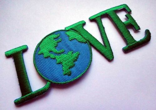 CUTE PRETTY LOVE THE EARTH WORLD LOGO Embroidered Iron on Patch Free Shipping