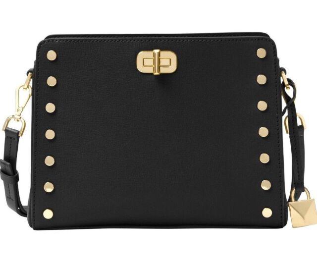 da0b126e8f4f Michael Kors Women's Crossbody Bag Leather Sylvie Studded Messenger Bag