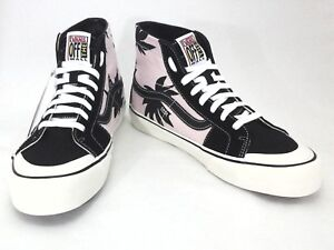 ab14125af1bd28 VANS High Top Shoes Skate SK8 Pink Black Palm Floral Unisex Mens 8.5 ...