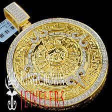Real Sterling Silver Custom Medallion Aztec Mayan Mexico Sun Calendar XL Pendant