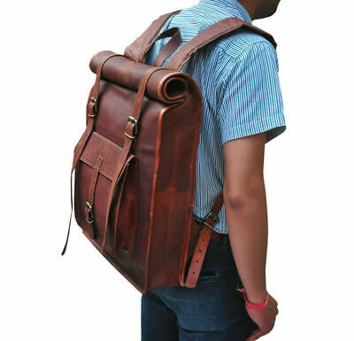Pure Genuine Vintage Leather Back Pack Rucksack Travel Bag For Men/'s and Women/'s
