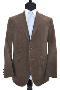 Polo-Made-In-Italy-Sport-Coat-Size-42R-In-Muddy-Green-Corduroy-W-Elbow-Patches