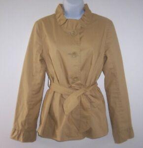 J Crew Blazer Jacket Women's 4 Khaki Frill Ruffles Belted Coat Stand Up Collar