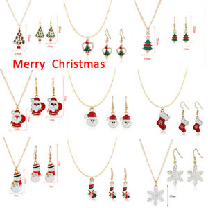Christmas-Necklace-Earrings-Set-XMAS-Tree-Pendant-Sweater-Chain-Jewelry-Gift-WI
