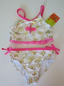 NWT Penelope Mack Toddler Girls Beach 2 Pc Bikini Swimsuit  Blue Pink Seahorse