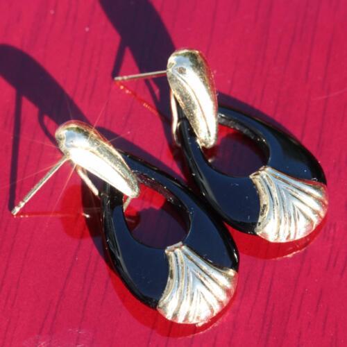 """14k yellow gold dangle earrings 1.25"""" onyx tear dr"""