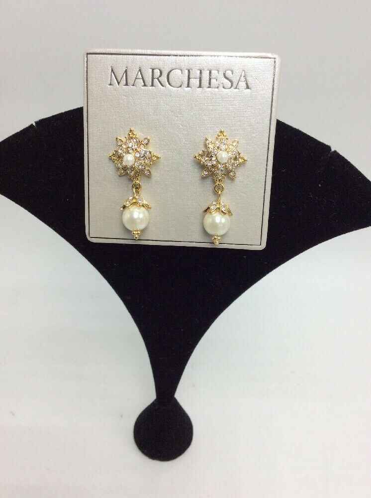 48 Marchesa gold tone stone crystal cluster drop  Faux  Pearl earrings