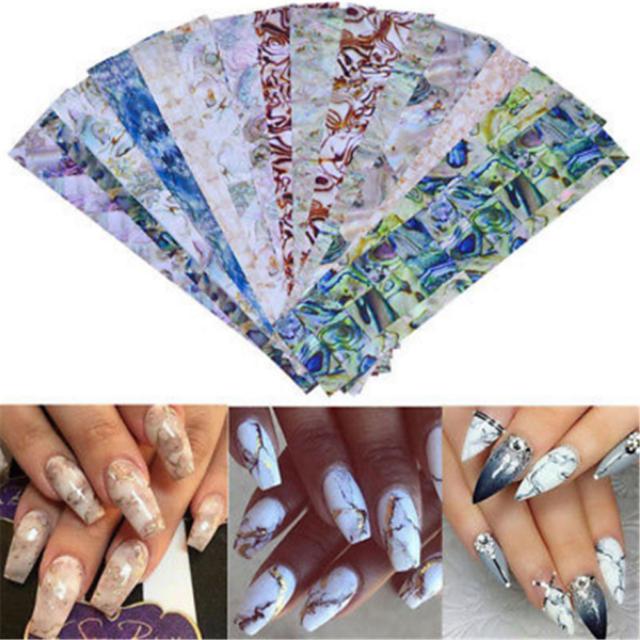16 Sheets Gradient Marble Shell Design Nail Art Foils Transfer