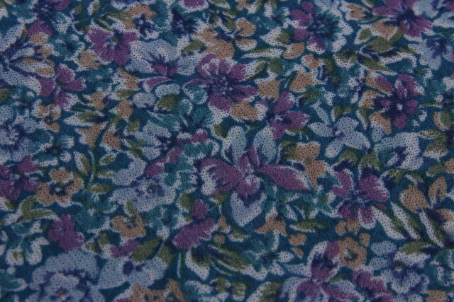 """Sheer Stretch """"LIDA"""" Knit Fabric 2 1/6 Yds Turquoise Lavender Floral Print 62"""" W"""