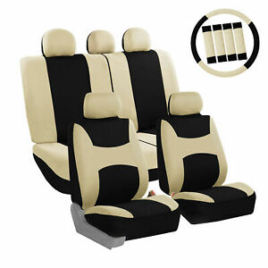 Car-Seat-Covers-Beige-Full-Set-for-Auto-w-Steering-Wheel-Belt-Pad-5Headrest