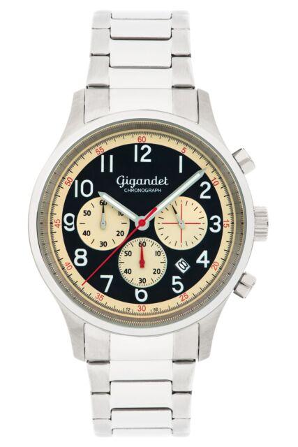 Gigandet EFFICIENCY Herrenuhr Chronograph Datum Edelstahl Silber Beige G50-005