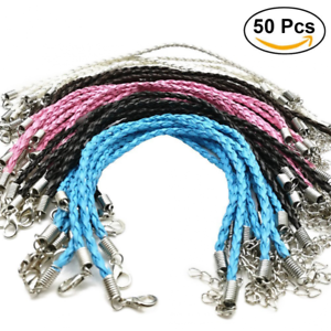 50  Faux Leather 18inch Necklace+Lobster Clasp Braid Rope Cord Jewellery craft