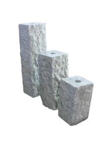 3er SET NATURSTEIN Granit Wasserspiel Quellstein Brunnensäule Stein ...