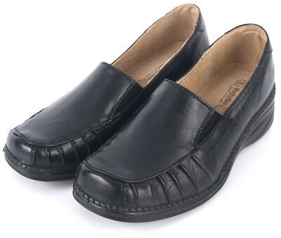 NEW WOMENS LADIES BLACK LEATHER LINED CUSHION WEDGE LOAFERS WORK SHOES SIZE UK 8