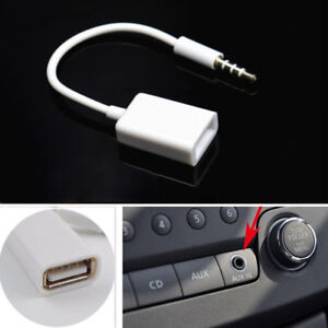 3.5mm Male AUX Audio Plug Jack To USB 2.0 Female Converter Adapter mp3 Car Cable