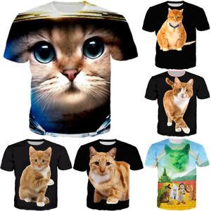 d10382afc3a8d Funny Cute Rainbow Cat 3D T-Shirt Casual Short Sleeve Men Women Tops ...