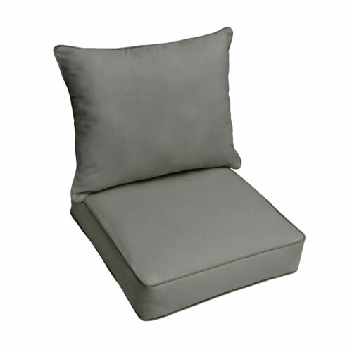 Sunbrella Charcoal Grey Indoor Outdoor Deep Seat Pillow Chair Cushion Set