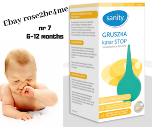 SANITY BABY NASAL ASPIRATOR SUCKER GRUSZKA DO NOSA KATAR STOP 0-6MONTHS//MIESIECY