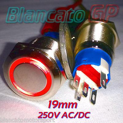 INTERRUTTORE a PULSANTE 19mm SPDT LED ROSSO 250V AC IP67 DEVIATORE antivandalo