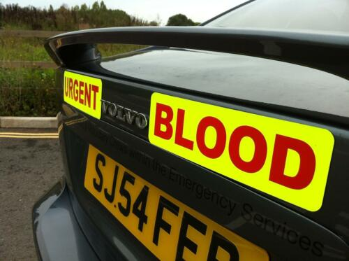 Magnetic sign URGENT BLOOD 2 piece design Dayglo with RED text vehicle signage