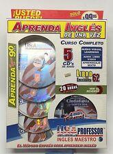 curso de ingles, Aprenda Ingles De Una Vez, 5 DVDs, 4 CDs, 1 Libro De Ejercicios