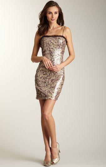 HOAGLUND NY Ruffled Trim Brushstroke Printed Sequin Dress (Größe 6)  NEW