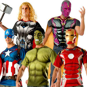 3bfeb51e Marvel T-Shirt Mens Fancy Dress Avengers Comic Superhero Adults ...