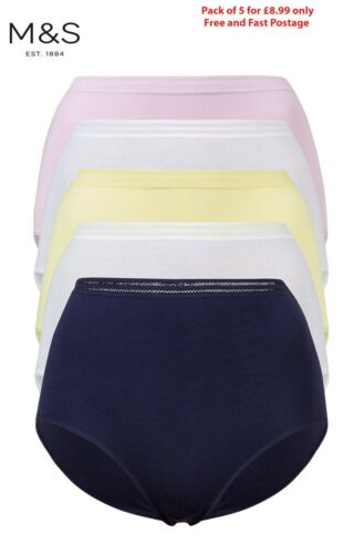 M/&S PACK of 5 Cotton Modal No VPL Navy White PINK Lace High BRIEFS Knickers 8-22