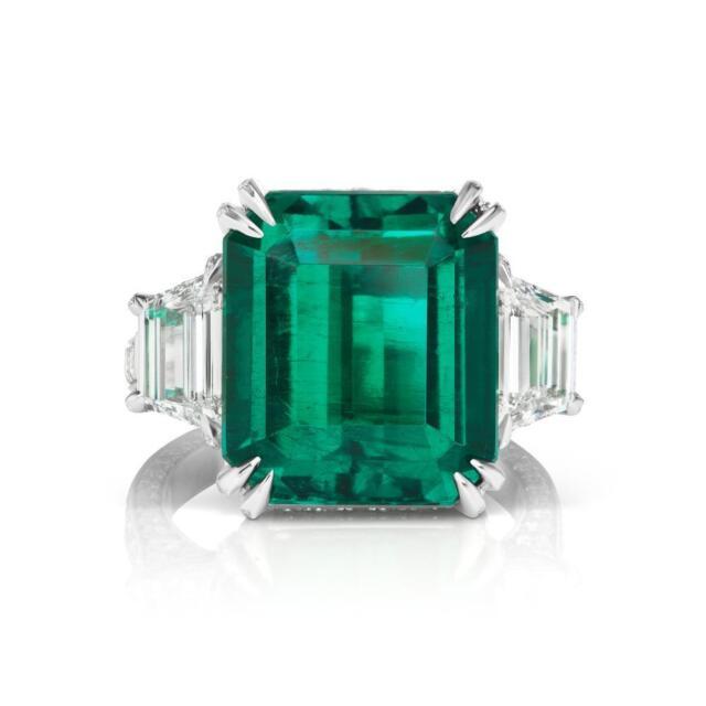 RARE MUZO EMERALD COLOMBIAN 15.72 cts Emerald Diamond RING GRS  GUBELIN GIA 4DIA