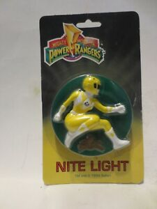 Vintage Yellow  Mighty Morphin Power Rangers Night Light 1994 - New On Card