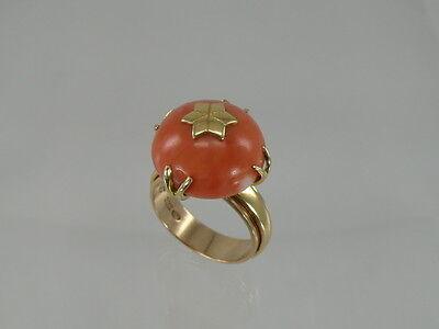 Ring Mit Koralle Edelkoralle / 585 Gold / 14 Karat*