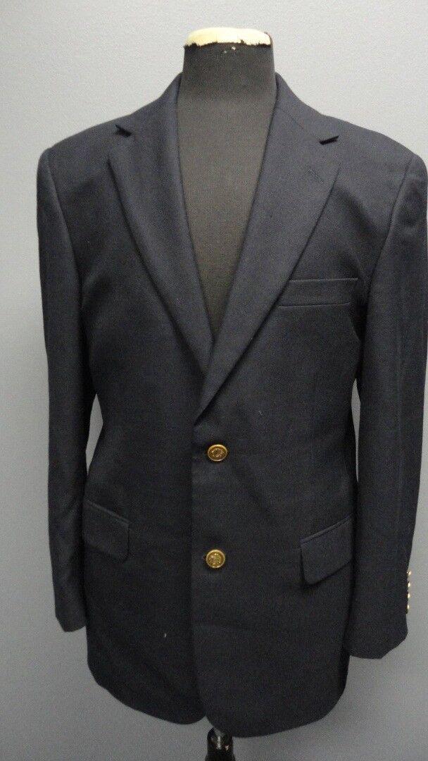 MACY'S MENS STORE Navy Wool Double Button Long Sleeve Blazer Sz L FF9478
