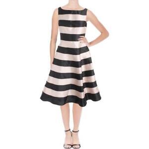NWT-ADRIANNA-PAPELL-Stripe-Mikado-Midi-Dress-Black-Blush-2
