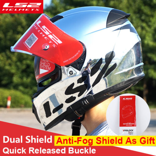 LS2 FF390 Breaker Split Motorcycle Helmet Inner Shield Chrome Full Face Racing