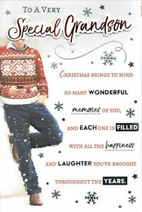SPECIAL GRANDSON CHRISTMAS CARD With MULTI PAGE INSERT & Lovely Words