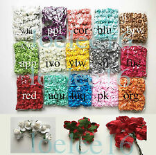 "72 Large mulberry rose paper flower lot wedding card craft scrapbooking 1"" 2"""
