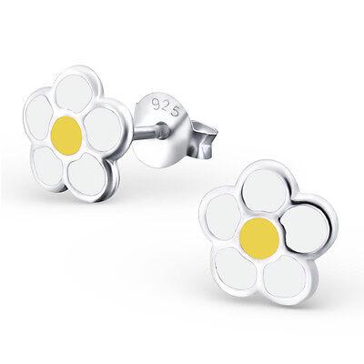 Sterling Silver 8mm White Yellow Daisy Flowers Studs Earrings Girls Genuine 925