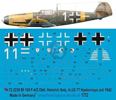 Peddinghaus 1//72 Bf 109 F-4 Markings Gordon Gollob Stab.//JG 77 Crimea 1942 3068