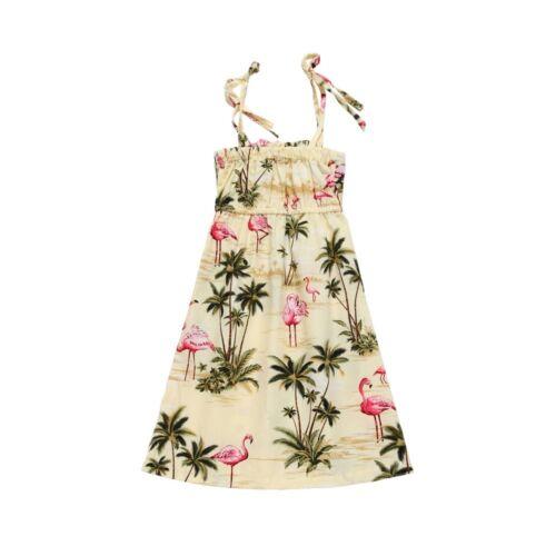 MADE IN HAWAII GIRL LUAU BEACH CRUISE ELASTIC RUFFLE DRESS YELLOW FLAMINGO
