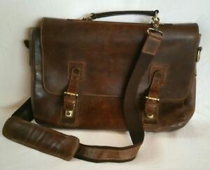 biggest selection new varieties wide selection Details about Kattee Vintage Genuine Brown Leather Briefcase Messenger Bag  Laptop Unisex