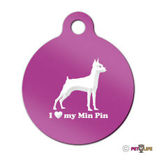 I Love My Miniature Pinscher Engraved Keychain Round Tag w/tab Min Pin Profile