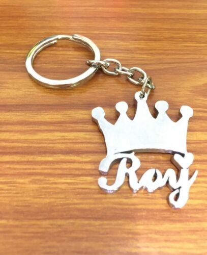 Hand Carved Personalized Kings Crown Key Chain With Your Custom Name Silver Colo